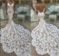 2019 Illusion Spaghetti Straps Lace Mermaid Wedding Dresses ...