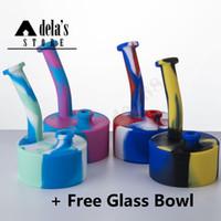 접힌 드럼 실리콘 봉 무료 유리 그릇 4.9 인치 실리콘 물 담뱃대 물 파이프 색상 필터 DAB 오일 조작 버블 러크가없는 봉지