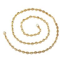 (TN-0044) 316L титановая сталь 60 см х 5 мм длинные кофейные зерна Ожерелья 60 см для мужчин NO NADE 18K Gold / белый цвет