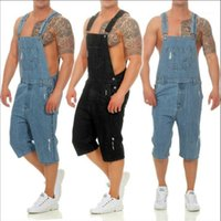 Button Fly Shorts Homme Casual Overalls Mens Hole Denim Overalls Solid Color Loose Distrressed