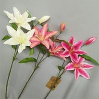 가짜 짧은 줄기 릴리 (3 헤드 / 조각) 시뮬레이션 미니 백합 웨딩 홈 쇼케이스 장식 인공 꽃