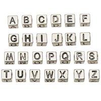 retro silver alfabet pärlor charms europeiska armband DIY stora hål halsband lösa legering brev smycken tillbehör 7 * 7mm 260pcs