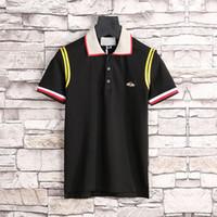 New Luxuryt Designer T-Shirt für Männer Streifen Mode Poloshirt Hemd Männer High Street Snake Little BEE Tiger Print Herren Poloshirt