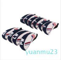 도매 10 조각 화이트 블루 미국 국기 네오프렌 골프 클럽 아이언 헤드 커버 헤드 커버 13 * 5.7cm