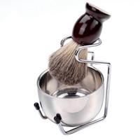 Hombres manija de afeitar sistema de cepillo de madera Badger pelo del acero inoxidable Espuma Tazón Peluquería hombres facial Barba Limpieza Afeitado herramienta HHA1184