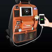 4USB автомобилей Организатор Back Seat Bag зарядное устройство хранения телефона Pu Кожа путешествия Многофункциональный карманный Урны Уборка Автоаксессуары