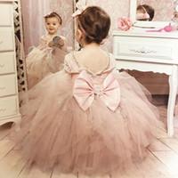 Belle Rose Blush manches longues fille de fleur robes de mariage pour paillettes scintillantes cristaux Sequin Ruffles Tulle Bow 2019Girls Pageant robe