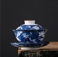 Çay bardağı Mavi ve beyaz büyük çay setleri antik Kung Fu çay setleri hediye nilüfer vinç (kapak kase), soğuk erik (kapak kase) ambalaj karton ür