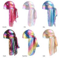 Sombreros Las vendas sedoso Durag colorido brillante Durags turbante pañuelos de los hombres de la cubierta de pelo de la onda Caps GD301