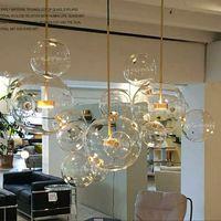 Clear Glass Ball Salon Landeliers Art Déco Lampe à bulles Shades Lustre Lustre Moderne Intérieur Éclairage Restaurant Iluminacao