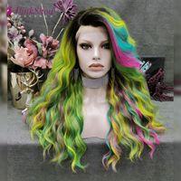 Perruques synthétiques Pinkshow Vert Jaune Rose Bleu Mélange Wig Rainbow Dentelle Avant Vague Naturelle Pour Femmes Résistant à la chaleur Fibre