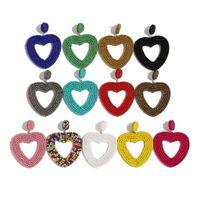 Boemia tallone nappa orecchini di goccia per i regali di nozze le donne alla moda frange ragazze di partito Vintage orecchini di dichiarazione del cuore colorato