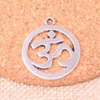 32PCS السحر اليوغا OM 25mm العتيقة صنع قلادة صالح، عتيقة التبتية فضة، المجوهرات المصنوعة يدويا