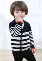Baby Suit Sweater Handsome Look Cardigan a righe Double Button Rows Disponibile 2 colori Rosso Blu scuro