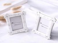 화이트 수지 모조 다이아몬드 하트 사진 프레임 베이비 샤워 호의 선물 웨딩 파티 테이블 장소 카드 홀더