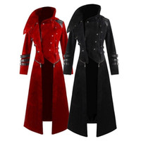 Giacca Mens gotico Steampunk Hooded Trench Costume Party Tailcoat manica lunga Moda Uomo Giacche Cappotti Chaqueta Hombre