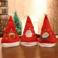 Brushed Cloth Embroidery Santa Claus Snowman Elk Red Christm...