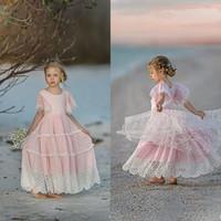 핑크 보헤미안 꽃 여자 드레스 결혼식 프릴 레이스 어린 소녀 미인 드레스 보석 목 짧은 소매 첫 번째 거룩한 친교 드레스