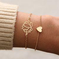 2 قطعة / المجموعة الإبداعية شخصية الحب شكل قلب لوتس سوار المرأة مزدوجة سلسلة أساور فتاة chirstmas هدية مجوهرات t121