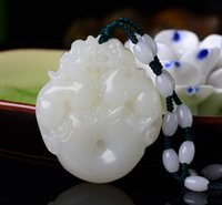 Natural Afghan White Jade Boutique Double-sided Peace Pin Pendant Lucky Fortune Necklace Wholesale