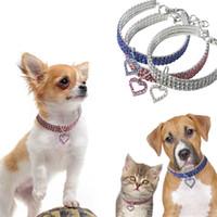 25 30 35 cm Köpek Tasmaları T Kedi Boyun Zinciri Bling Rhinestones Ile Pet Kalp Kolye Kolye Yeni Varış 10cz E1
