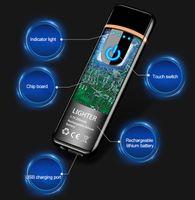 Mini USB Şarj Sensörü Dokunmatik Ekran Elektronik Tungsten Çakmak Alevsiz Şarj Edilebilir Windbreak Yeni Ince usb çakmak hediye