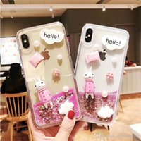 Cute Girl Dynamic Cartoon Bling Quicksand Liquid Flowing Glitter Star TPU Rabbit Funda de teléfono Funda para iPhone 6 7 8 Plus X XS XR XS Max