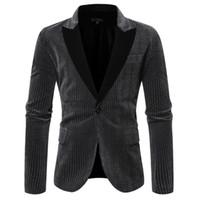 Männer stilvolle beiläufige Patchwork Blazer Striped Solid Black Langarm Revers Geschäfts Hochzeit Outwear Mantel Anzug Tops Drucken