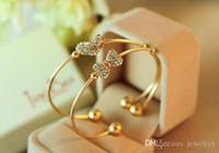 Cristal Amour Coeur Bracelet Bowknot Diamant Bracelets Bijoux Charmante Dame Filles Main Bijoux De Mariée Bracelets De Mariage pour la Mariée