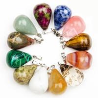 Healing Stone Water Drop Pendants Charms Ametista Opal Obsidian Chakra Perline Gioielli di alta qualità Pendenti in pietra naturale adatta per collana