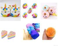 Squishy Oyuncaklar, dondurma, çörek, hamburger, kek, şekerleme, yavaş tırmanma, çocuklar için hediyelerle sevimli cep telefonlarını sıkma