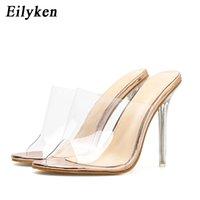 Eilyken шампанского Женщины сандалии плексигласа Высокие каблуки 11см ПВХ прозрачного хрусталя Сжатый Классический моды сандалии обувь Размер 35-42 MX200407