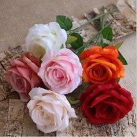 un unico stelo di rosa fiori di velluto artificiale roses30cm lunghi 9 colori DIY da sposa bouquet di fiori Accessori Disposizione