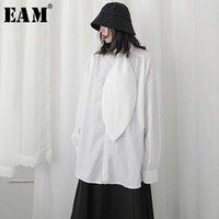 Женские блузки Рубашки [EAM] Женщины белый плиссированный сплит большой размер длинной блузки лук воротник рукав свободная подходит рубашка мода весна лето 2021 1