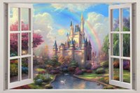 Fantasy Princess Castle 3D Window View Decal WALL STICKER De...