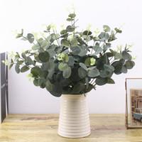 5 unids / lote hojas artificiales verdes grandes plantas de hojas de eucalipto material de pared plantas decorativas falsas para el hogar tienda decoración de fiesta de jardín 42 cm