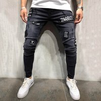 Männer Kleidung 2019 Skinny Jeans Herren Stretch Denim Pant homme rotos Distressed Zerrissene Freyed Slim Fit Pocket Jeans Hose VE7