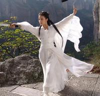 Alta clássico Qualidade hanfu traje branco Dança popular chinesa / trajes vermelhos / rosa de papéis no cinema