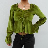 Women' s pleated lace sexy umbilical velvet top T- shirt ...