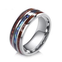 Mode 8mm poliert Matte Abalone Shell Hartmetall Ring Business Style Herrenschmuck Größe 6 - 13