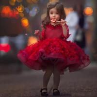 Kırmızı Uzun Kollu Çiçek Kız Elbise Boncuk Dantel Aplike Diz Boyu Kızlar Pageant Elbise Güzel Kabarık Cupcake İlk Communion Cumhuriyeti