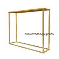 El nuevo estilo de la boda se pasarela mesa pilar de la pieza central del metal del oro de la vela del sostenedor de la decoración senyu0211