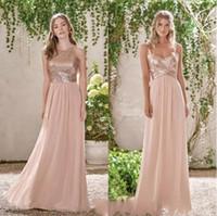 2019 Sparkly Rose Gold Paillettes A-line abito da damigella d'onore a buon mercato Spaghetti Chiffon Wedding Guest Gown lungo formale del partito di promenade