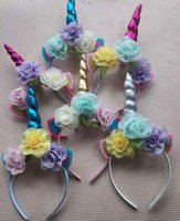 Glitter Metallic Unicorn Headband Girls Chiffon Flowers Hair...
