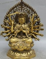 "bronzo Rame Antico Old Ming Ottone Cinese Ottone 17 ""Buddismo tibetano Sedile in rame Loto 18 Mani Statua di Buddha Maha Cundi Madre"