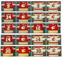 Vintage Calgary Flames Forması 34 MIIKKA KIPRUSOFF 2 AL MacINNIS 12 JAROME IGINLA 9 LANNY McDONALD 30 MIKE 14 THEOREN FLEURY Hokeyi