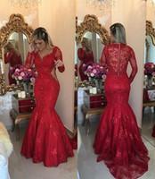 Vintage Vermelho Oco Prom Vestidos Evening Formal Vestidos Longos Manga Comprida V Profundo Sereia Pérolas Beading Barato Pageant Partido Celebrity Dress