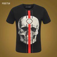 PP Estate Mens Marca Tshirt Skull Stampa rivetto Perline Tops Fashion Designer Tshirt alta O-Collo Qualità cranio tees # 6251