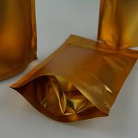 100 pz / pacco, 16x24cm in oro opaco stuoia chiusura lampo in alluminio opaco sacchetto-alluminized mylar riapertura cerniera cioccolato / sacchetto di cotone caramelle