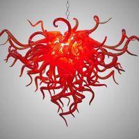 빨간 펜 던 트 램프 100 % 입 블로운 붕 규산 무라노 유리 샹들리에 펜던트 빛 아트 낮은 천장 크리스탈 샹들리에